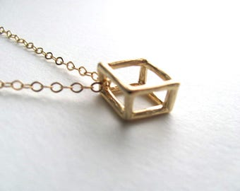 3D cutout square charm necklace on 14k gold plate chain, modern geometric minimalist jewelry