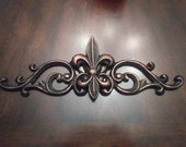 "Fleur De Lis Topper Metal- FREE USA SHIPPING -  15.5""Wall Plaque Valance, Old World, TuTuscaMetal Art, Cabinet Hardware, Kitchen, Bathroom"
