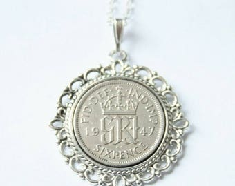70th birthday gifts for women. 1947 birthday gift. 1947 Lucky Sixpence necklace. 1947 jewelry gift. 70th birthday gift. Coin necklace