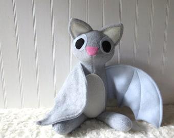 Light Gray Bat Plush, Bat Toy, Stuffed Bat
