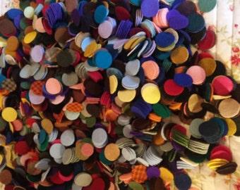 """110 1&1/4"""" Wool penny rug circles"""