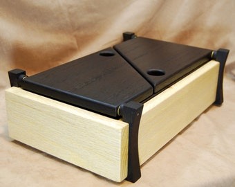 Black and white oak valet jewelry or keepsake box
