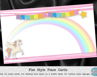 10 Flat Style Place Cards, Buffet Label Cards, Name Cards, Uiconr, Rainbow, Pastel Colors, Pink Stripes, Baby Shower, Birthday Party