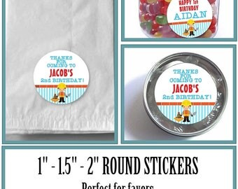 "1"", 1.5"" or 2""  Stickers, Labels, Favor Stickers, Construction Worker, Builder, Traffic Cone, Red, Blue, Yellow, Baby Shower, Birthday"