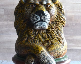 Larger Sized Cast Iron Hand Painted Stoic Lion Doorstop Narnia Style