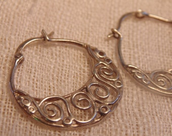 Sterling Hoop Earrings Sterling Hoops Sterling Earrings 925 earrings Sterling Jewelry Sterling Open Work