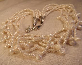 Vintage Freshwater Pearl Necklace Mutli Starnd Pearls Pearl Necklace White Pearl Necklace White Necklace
