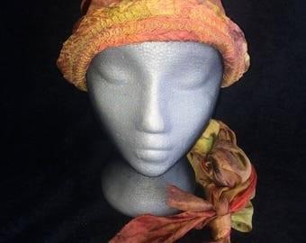 Lush silk head wrap/scarf/bandana, hand dyed nuno felted wool
