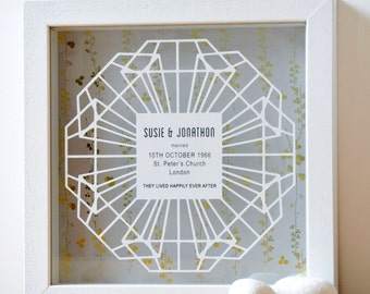 Framed 60th Diamond Anniversary Papercut with Gold, 60th anniversary gift, personalised anniversary gift, gold foil anniversary gift