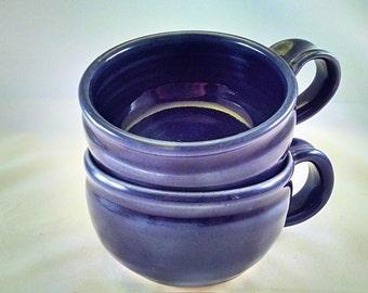 Pottery Soup Mug, Soup Mug, Blue Pottery Soup Crock, Large Tea Cup. Soup Bowl with Handle, Cappuccino Cup Ready to Ship