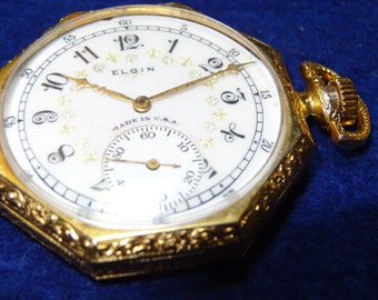 Outstanding Elgin 12 Size Octagon Case Pocket Watch-Just Serviced