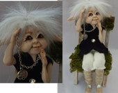 Finnian Elf with Pocket Watch and a Chair OOAK Fairy Fairies Sculpture Art Doll NEW Polymer Clay