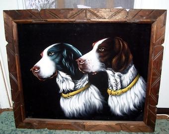 Vintage Dog Painting Brittany Spaniel  On Velvet, 2 Spaniel Dogs on Black Velvet, Lodge Decor, Sportsman Lodge, Hunters Wall Decor