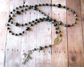 Franciscan Crown Rosary in Gray and Black Snowflake Obsidian with St Francis/ St Anthony Center and San Damiano Cross