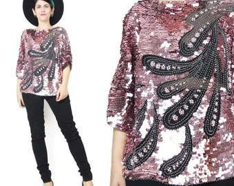 80s Pink Sequin Blouse Long Sleeve Sequin Shirt Disco Glam Party Top Silk Sequin Blouse Pullover Tunic Top Glam Evening Beaded Blouse (M)