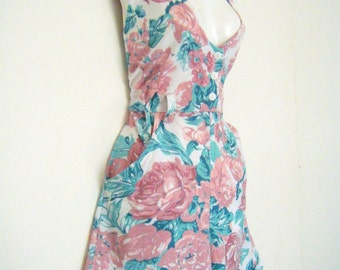 1990's Floral Print Sleeveless CULOTTES ROMPER, shorts, size m