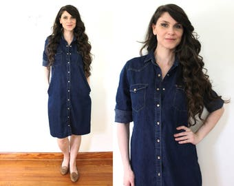 70s Denim Dress / 1970s Dark Blue Denim Western Dress