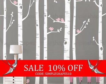 Sale - Birch Tree Wall Decal with Birds and Deer, Baby Nursery Wall Stickers, Nursery Wall Decals, Tree with Birds and Deer Stickers W1114