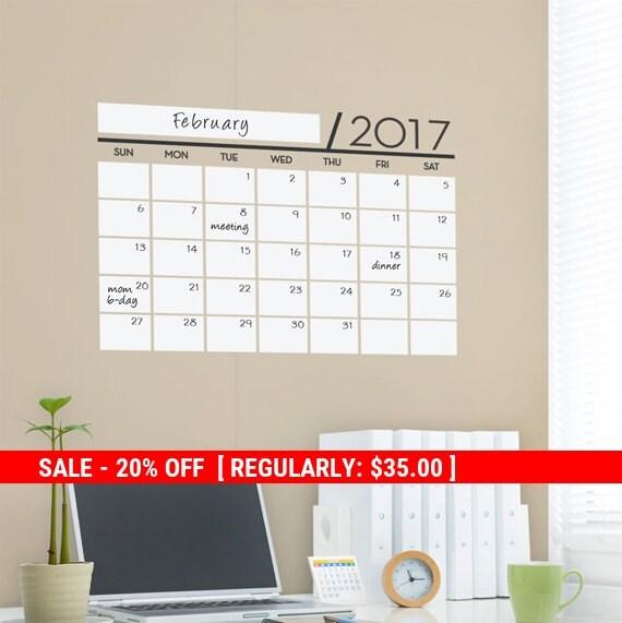 Holiday Sale - Unique Dry Erase Board Decal, 2017 Wall Calendar, Monthly Planner Calendar, Dry Erase Calendar