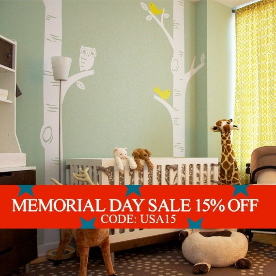 Memorial Day Sale - Birch Tree with Owl and Birds Decal - featured on Project Nursery W1049