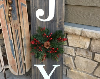 Joy Wood Holiday Sign with Wreath Front Porch Decor
