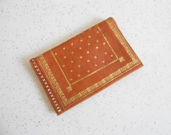 Vintage Soft Leather and Suede Wallet Cognac Color Embossed 22 Carat's Leather Wallet 30's-40's Era