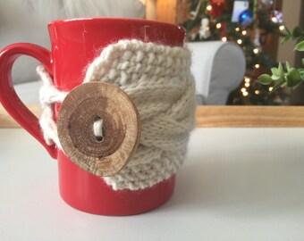 Cream Coffee Mug Cozy // Coffee Cozy, Coffee Sleeve, Tea Cozy, Tea Cup Sleeve, Tea Cup Cozy, Coffee Cup Cozy, Coffee Cup Sleeve