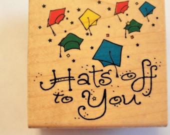 Graduation rubber stamp, Inkadinkado wooden stamp, graduation cap congratulations, crafts, scrapbooking, card making DIY crafting supply