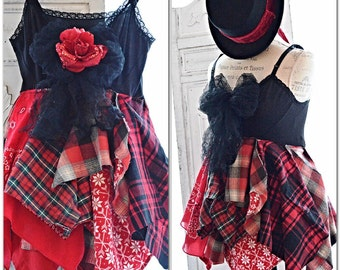 Christmas flannel cami, boho tunic, Bohemian country plaid top, Romantic shabby cottage chic clothing, gifts for her, True rebel clothing