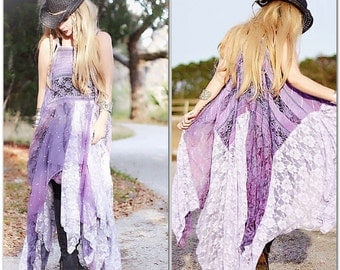 L Purple Boho Maxi Dress, Bohemian Style Lace Sundress, Spell N Gypsy, Stevie Nicks Style, Gypsy Dress, Patchwork Hippie True Rebel Clothing