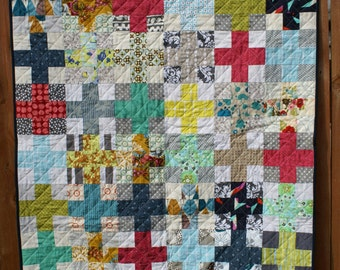 Scrappy Charming Plus Baby Quilt, Stroller Quilt or Playmat