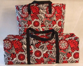 Carrying Case for the Cricut Explore Air / Silhouette Cameo 3 /Brother ScanUCut / Accessory Bag / Red, Black, Grey, White Floral Print