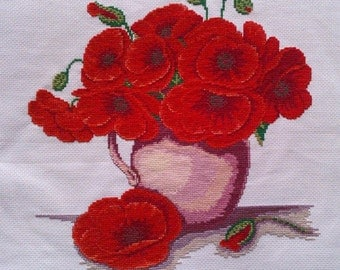 New Finished Completed Cross Stitch - Vase - F119