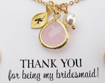 Bridesmaid Gift, Personalized Bridesmaid Jewelry, Your Choice of Color(s) and Initials, Bridesmaid Necklace, Wedding Jewelry, Bridal Jewelry