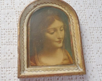 Vintage Plaque Florentine Tole Wall Hanging Lady Print