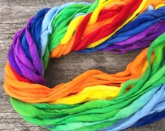 Self striping rainbow yarn, 55 yards, handspun super bulky in merino wool - 3.5 ounces/ 100 grams