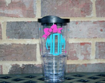 Circle Mom 24 oz acrylic Insulated cup and straw with Mom in a circle monogram and bow - Great Mother's day gift