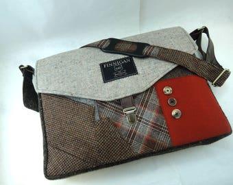 "Laptop bag Womens Messenger Bag 15"" messenger bag Womens Messenger bag laptop Messenger bag Laptop Sleeve  Recycled Suit Coat Upcycled"