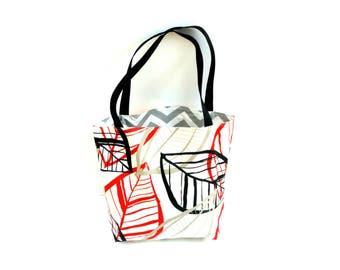 Shopping tote bag, large market bag, reversible tote, gray chevron red black leaves, market bag, beach bag, medium weight cotton bag