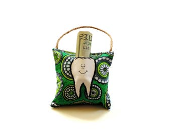 Tooth fairy pillow for kids, green cotton print fabric small pillow, hanging pillow, teeth, kids gift under 10