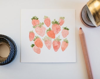 Watercolor Strawberries, Illustration, Summer Art, Healthy Art, Food Illustration, Art Print, 5x5