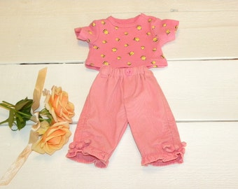 Peach Coloured Patterned Tshirt and Pants - 14 - 15 inch doll clothes