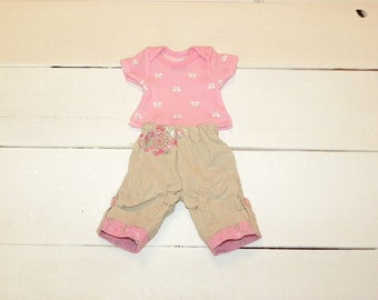 Tan Cuffed Pants and Pink Patterned Tshirt - 12 inch doll clothes