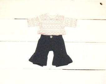 Sparkling Pink Tshirt and Navy Ruffled Pants - 12 inch doll clothes