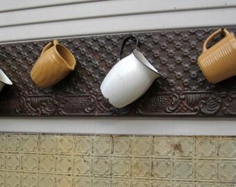 Large Rustic Coat Rack. Towel Rack. Kitchen Bath Coat Hooks. Antique Ceiling Tin Tile Panel. Architectural salvage.