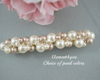 Champagne Pearl Bridal Barrette, Wedding Barrette, Beaded Pearl Barrette, Pearl Hair Accessory, Wedding Hair Clip, French Barrette, Crystals