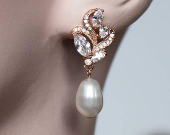 Rose Gold Bridal Earrings Wedding Cubic Zirconia  Tear Drops Pearl Bridal Jewelry Rose Gold Crystal Wedding Earrings-Zoe Earrings