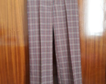 Ladies Tailored Brown & Green Plaid Trousers 8 Small Petite