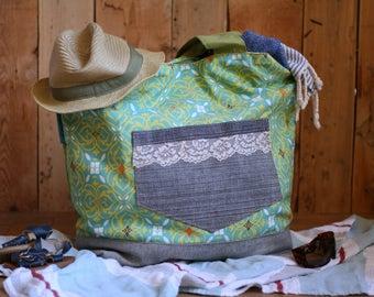 discount-large tote bag, beach bag, diaper bag, picnic bag, green, yellow, denim, eco-friendly,reclaimed fabrics,carry all bag
