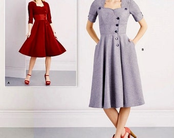Flared Dress Pattern, Dress with Pockets Pattern, Simplicity Sewing Pattern 8259